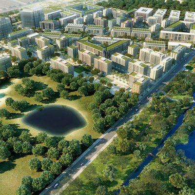 Perspectiva ilustrada do Bairro e do Parque Quartier